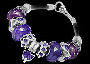 Leather Bracelets - Purple Glass Beads Cubic Zirconias and .925 Sterling Silver Beads and Leather bracelet PB011