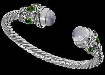 Plus Size Jewelry - Rainbow Moonstone Peridot and .925 Sterling Silver Cable Bracelets B500L