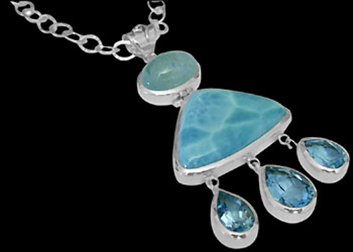 .925 Silver Jewelry - Larimar Blue Topaz Aquamarine and .925 Sterling Silver Necklaces N1299
