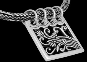 Sterling Silver Necklaces with Harvest Pendant Motif N541 - 4mm