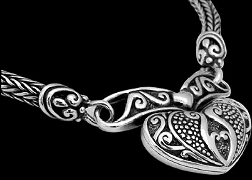 Sterling Silver Necklaces 4 mm Wheat Chain Necklace with an Intricate Heart Pendant N543 - 4mm -  Ornate Hook Clasp.