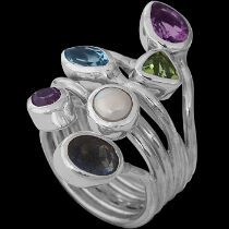 Anniversary Jewelry Gift - Labradorite Topaz Peridot Amethyst Pearl Iolite and Sterling Silver Ring R966