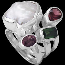 Pearl Garnet Pink Tourmaline Green Tourmaline and  Sterling Silver Ring MR-1112pr