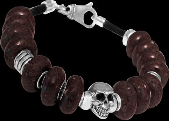 Gothic Jewelry - Black/Brown Beads .925 Sterling Silver Beads and Black Leather Bracelets - Skull Beads BB331