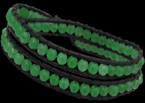 Genuine Black Leather and Aventurine Gemstone Beaded Bracelets LBS0003
