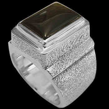Men's Jewelry - Black Onyx and .925 Sterling Silver Rings MR20Bonr - Rough Finish
