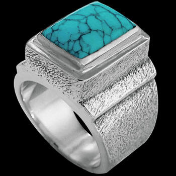 Men's Jewelry -Turquoise and .925 Sterling Silver Rings MR20Btq - Rough Finish