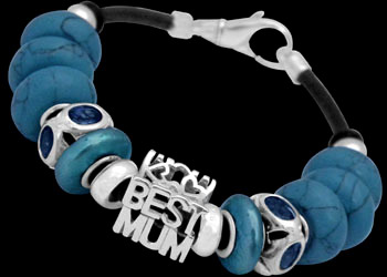 Mother's Day Jewelry Gift - Blue Pearl Beads Blue Beads Blue Cubic Zirconias Beads and .925 Sterling Silver Beads and Leather bracelet PB911