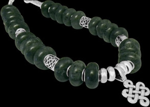 Green Colour Beads .925 Sterling Silver Celtic Beads Black Leather Necklaces - Celtic Knott Silver Pendants BN339