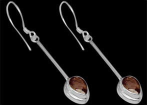 Mother's Day Jewelry Gift - Smokey Quartz and Sterling Silver Earrings E380