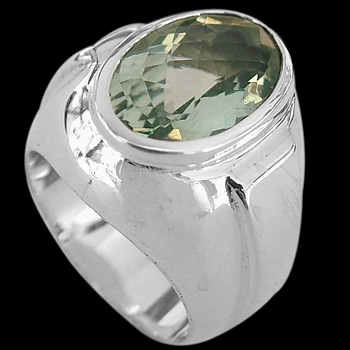 Men's Jewelry - Green Quartz and .925 Sterling Silver Ring R977grqu