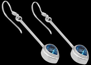 Mother's Day Jewelry Gift - Topaz and Sterling Silver Earrings E380