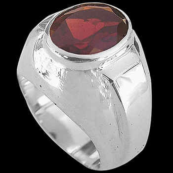 Men's Jewelry - Garnet and .925 Sterling Silver Rings R977ga