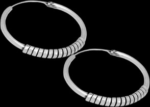 Silver Jewelry - .925 Sterling Silver Earrings - Hoop Earrings E204