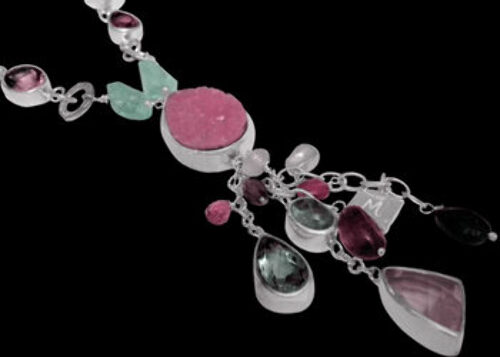 Valentines Day Jewelry Gift - Calcite Cabochon Rose Quartz Green Amethyst Amethyst Pink Tourmaline Aquamarine White Pearl and Sterling Silver SN959