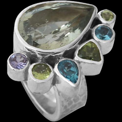 Green Amethyst Peridot Topaz Tanzanite  and .925 Sterling Silver Rings R899gamy