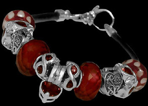 Leather Bracelets - Red Glass Beads  Red Cubic Zirconias and .925 Sterling Silver Beads and Leather bracelet PB012