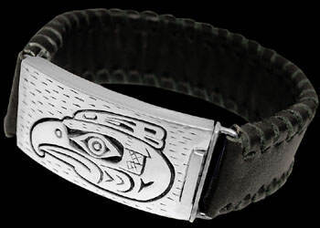 Gangster Jewelry - Genuine Black Leather .925 Sterling Silver Bracelets BR1238bk