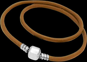 Light Brown Double Leather Bracelet with .925 Sterling Silver Clasps PB16LB