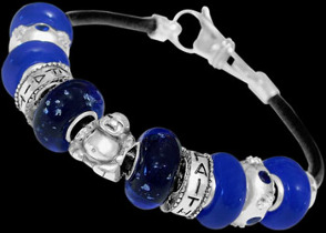 Blue Glass Beads Blue Beads and .925 Sterling Silver Beads and Leather bracelet PB201