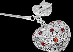 Valentines Day Jewelry Gift - Garnet and .925 Sterling Silver Necklaces N1512ga
