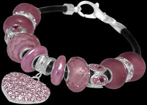 Leather Bracelets - Pink Glass Beads Pink Cubic Zirconia Pearl Beads and .925 Sterling Silver Beads and Black Leather bracelet PB511