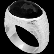 Faceted Onyx and Sterling Silver Ring R752monyx