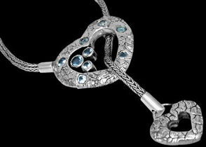 Blue Topaz and Sterling Silver Necklaces N2311bt