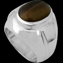 Men's Jewelry - Tiger Eye and .925 Sterling Silver Ring R977TIG