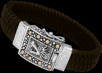 Genuine Brown Leather 18K Gold and Sterling Silver Dragon Bracelets LB8161