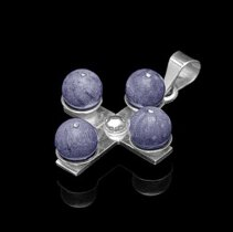 Religious Jewelry - Men's Blue Coral .925 Sterling Silver Cross Pendant