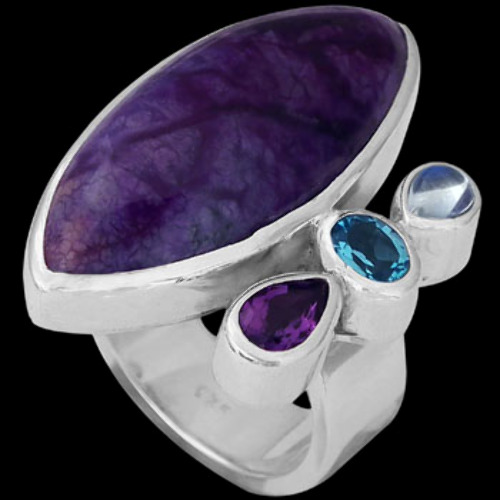Topaz Rainbow Moonstone Amethyst Sugilite and Sterling Silver Ring MR-1112S