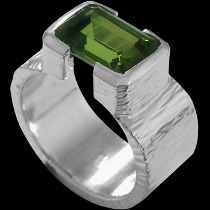 Men's Jewelry - Peridot and .925 Matt Sterling Silver Ring R358M