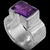 Men's Jewelry - Amethyst and .925 Matt Sterling Silver Ring R358M