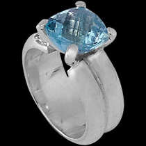 Blue Topaz  and Sterling Silver Rings R-624tp