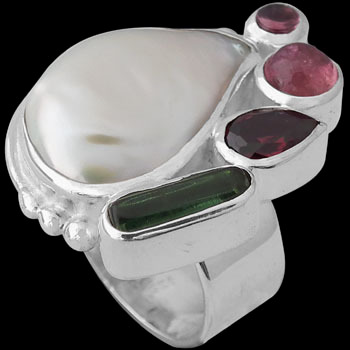 White Pearl Green Tourmaline Garnet and Sterling Silver Ring R-899TOUR
