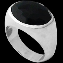 Faceted Onyx and Sterling Silver Ring R752onyx