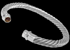 .925 Jewelry - Smokey Quartzs and Sterling Silver Cable Bracelets B696smk - 6mm