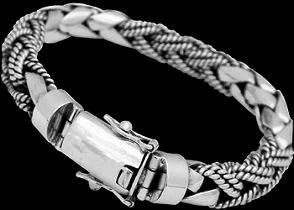Mens Jewelry - .925 Silver Jewelry - Sterling Silver Bracelets B1036SC - 8mm - Secure Clasp