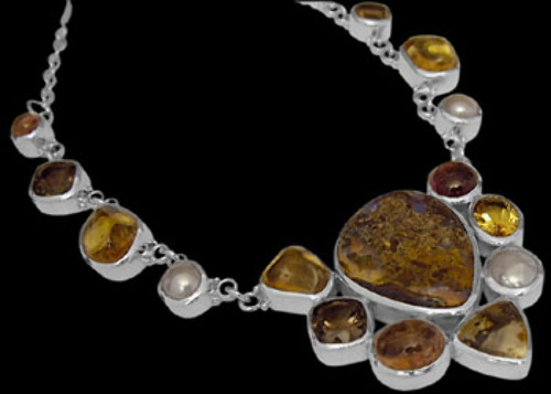 Bridal Gift - Boulder Opal Dendritic Quartz Citrine Pink Tourmaline Smokey Quartz Pearl and Sterling Silver Necklaces N959