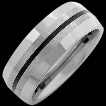 Wedding Bands - Black Resin and Tungsten Rings RT012