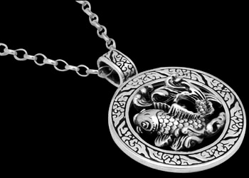 Mens pendants silver mens pendant sterling silver mens pendants silver jewellery sterling silver koi fish necklace np366 aloadofball Image collections