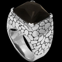 Men's Jewelry - Faceted Black Onyx and .925 Sterling Silver Rings R1007