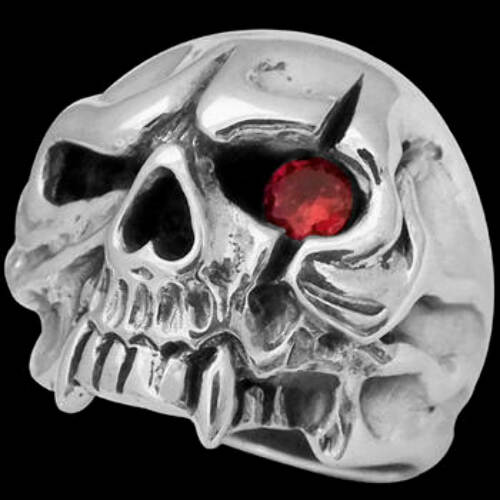 Silver Jewelry - Ruby and .925 Sterling Silver Vampire Skull Rings R52