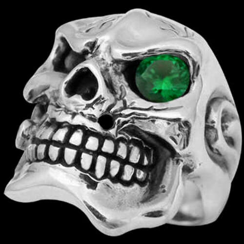 Men's Jewelry - Emerald and .925 Sterling Silver Skull Rings R23