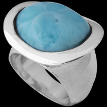 .925 Silver Jewelry - Larimar and Sterling Silver Rings R1365LAR