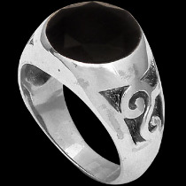 Men's Jewelry - Faceted Black Onyx and .925 Sterling Silver Rings R1075