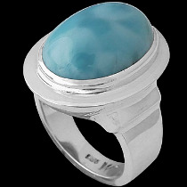 .925 Silver Jewelry - Larimar and Sterling Silver Rings R-1100BLAR