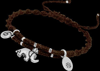 .925 Silver Jewelry - Sterling Silver Beads with Brown Cotton Cord Bracelets B1137br by Kinnaree Designs