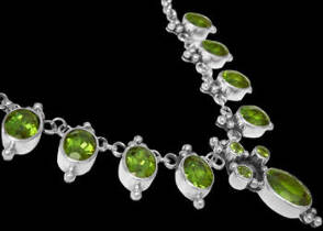 Valentines Day Jewelry Gift - Peridot and .925 Sterling Silver Necklaces MN202spr